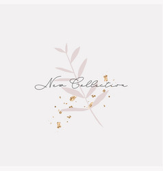 chic floral banner or card with leaves branch vector image