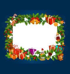 christmas and new year gifts frame vector image