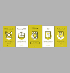 Collection hostel elements onboarding vector