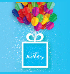 Colorful flying paper cut balloons happy birthday vector