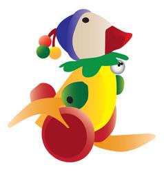 Colorful retro duck toy vector