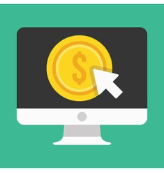 Computer display pay per click icon vector