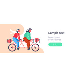 couple riding tandem bicycle with heart shape vector image