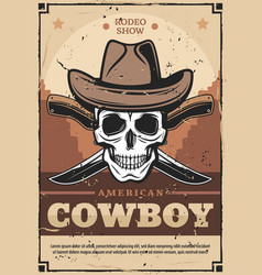 Cowboy skull in hat with crossed knives vector
