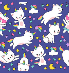 Cute cats unicorn seamless pattern for kids vector