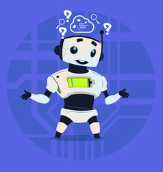 cute robot coding thinking modern artificial vector image