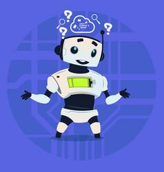 Cute robot coding thinking modern artificial vector