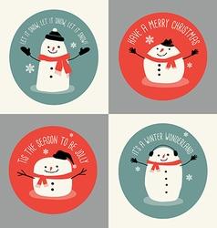 Cute snowman holiday greeting card set vector image