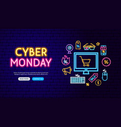 cyber monday neon banner design vector image