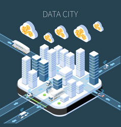 data city isometric composition vector image