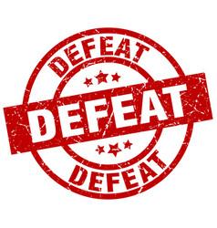 Defeat round red grunge stamp vector