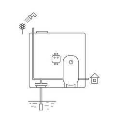 Diagram of caisson equipment for a house and vector