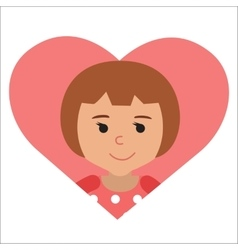 drawing of icon little girl in the heart vector image