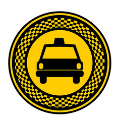 emblem taxi front car icon vector image