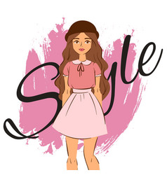 Fashion girl in cloths on pink splash and style vector