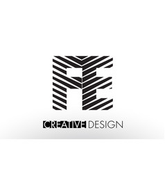 Fe f e lines letter design with creative elegant vector