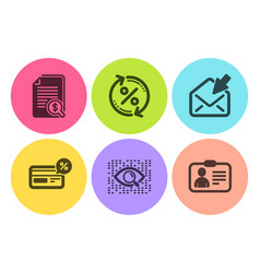 Financial documents open mail and cashback icons vector