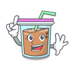 finger bubble tea mascot cartoon vector image