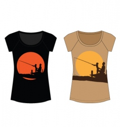 fishing woman t shirt vector image
