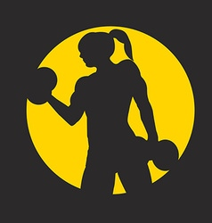 Fitness logo with muscled woman silhouettes Woman vector