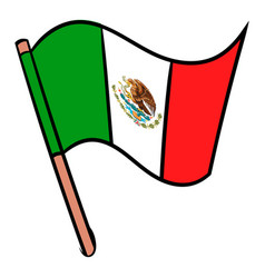 Flag of mexico icon cartoon vector