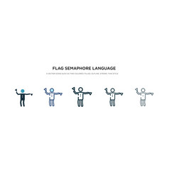 Flag semaphore language icon in different style vector