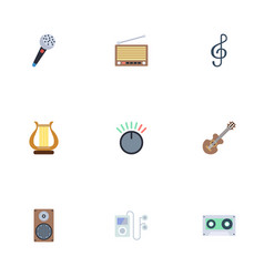 Flat icons radio quaver knob and other vector