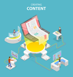 flat isometric concept content creating vector image