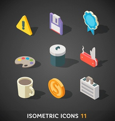 Flat Isometric Icons Set 11 vector image