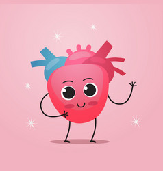 Funny heart character cute human body internal vector