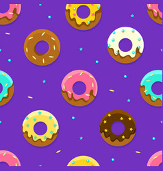 glazed donuts seamless pattern colorful sweet vector image