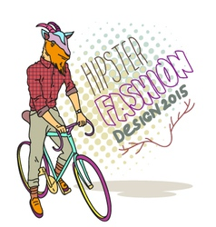 Goat hipster on a bicycle vector image
