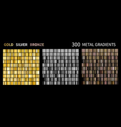 gold silver bronze gradients collection of vector image