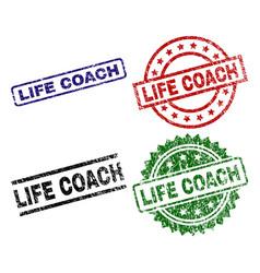 Grunge textured life coach stamp seals vector