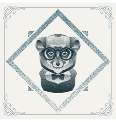 Halftone hipster lemur with black Dots vector