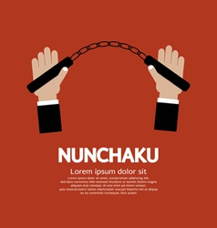 Hand Holding A Nunchaku vector