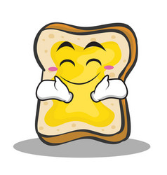 happy face bread character cartoon vector image