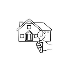 house repair hand drawn sketch icon vector image