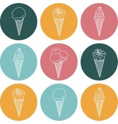icon silhouettes ice cream with signature vector image