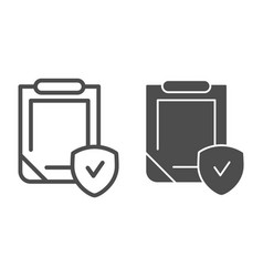 Insurance policy line and glyph icon clipboard vector