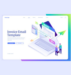 invoice email template landing page vector image