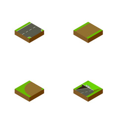 Isometric road set of footpath turning subway vector