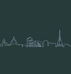 Italy simple line skyline and landmark silhouettes vector