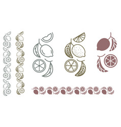 Lemon monochrome ornament vector