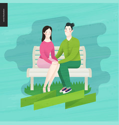 love spring bench - a couple in love vector image
