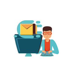 man with desktop computer and envelope mail vector image