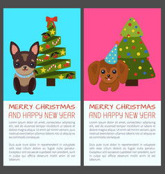 Merry christmas with dogs vector