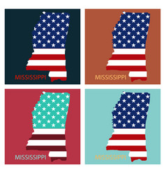 Mississippi state of america with map flag print vector