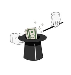 Money from hat vector