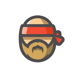 motor biker with red bandage cartoon vector image